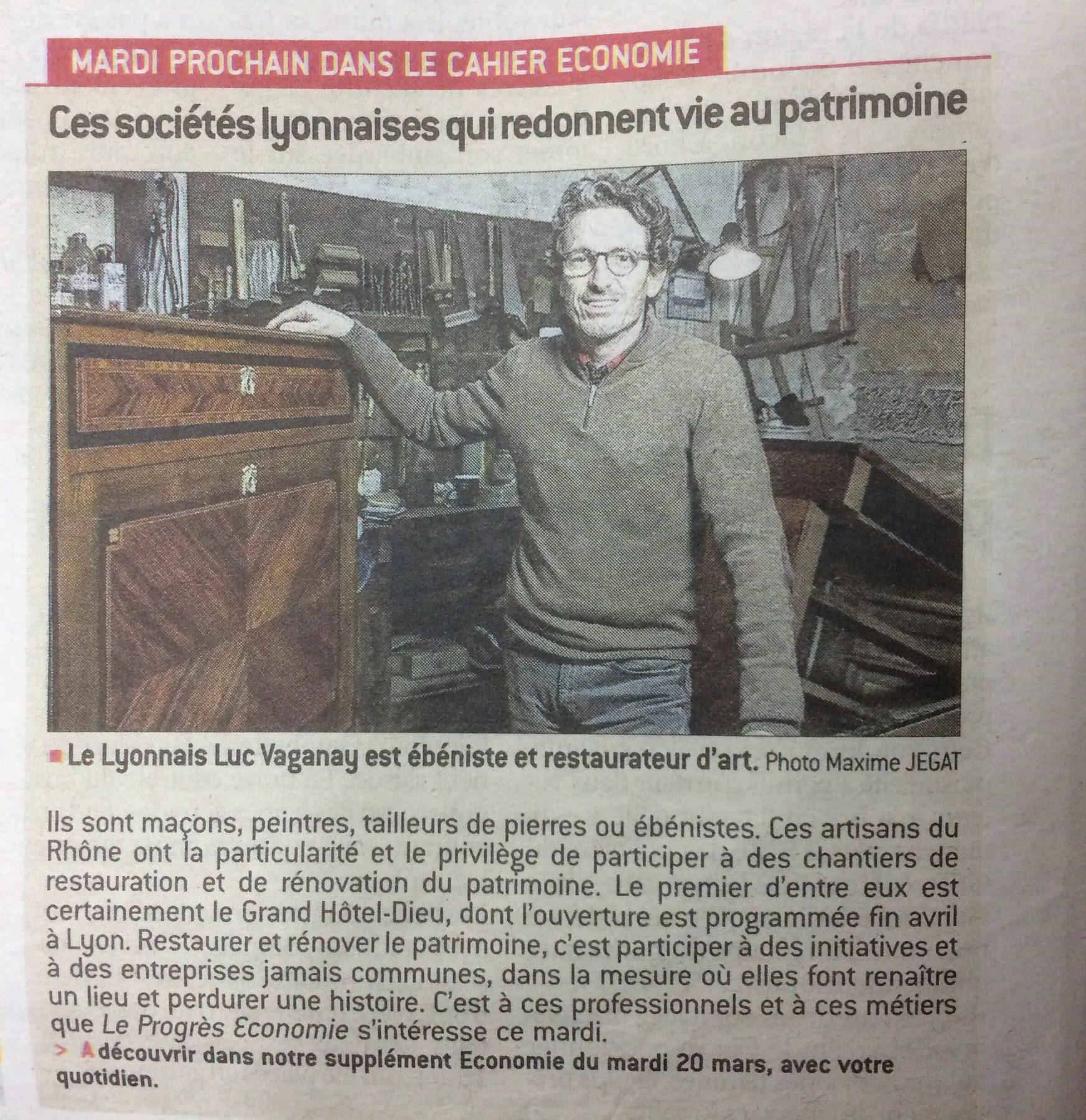 Luc Vaganay - Article progrès mai 2018